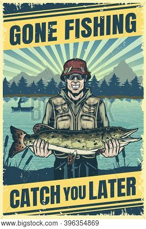 Fishing Vintage Colorful Poster With Happy Fisherman In Sunglasses And Panama Hat Holding Pike On La