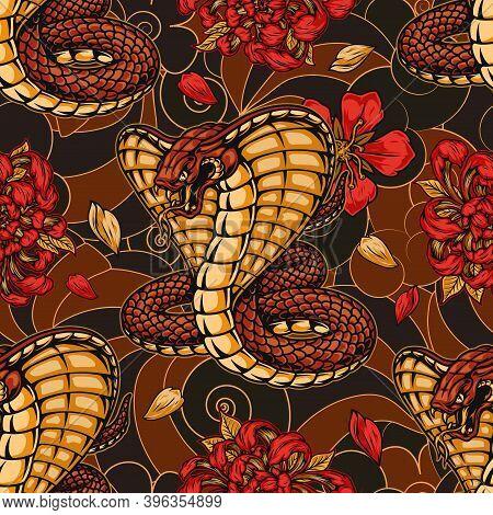 Japanese Vintage Seamless Pattern With King Cobra Chrysanthemum And Sakura Flowers On Abstract Backg