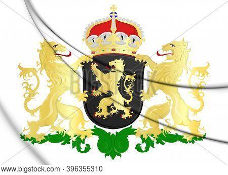 3d North Brabant Province Coat Of Arms, Netherlands. 3d Illustration.