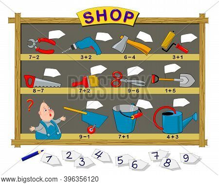 Math Education For Children. Help The Seller To Write Prices On Tools. Solve Examples And Draw Numbe