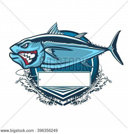 Tuna Big Fishing Logo Illustration. Tuna Fish Fishing Vector Emblem. Blue Fin Fish Marine Theme. Ang
