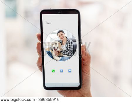 Smartphone screen during videocall to sister