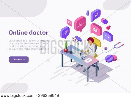 Isometric Online Doctor Remotely Providing Consultation, Communicating In Chat On The Laptop With Pa