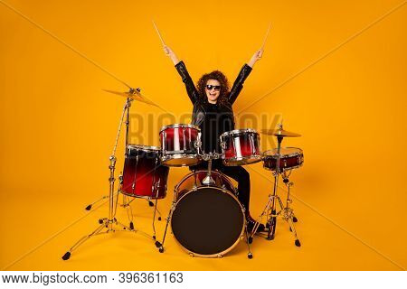 Full Body Photo Of Popular Rocker Redhair Lady Plays Instruments Raise Hands Drum Sticks Concert Sho