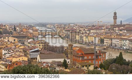 Florence, Italy - February 2, 2018: Rainy Winter Day Cityscape In Florence, Italy.