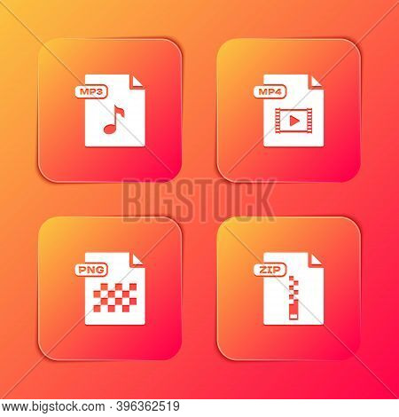 Set Mp3 File Document, Mp4, Png And Zip Icon. Vector