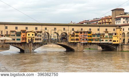 Florence, Italy - February 2, 2018: Ponte Vecchio Bridge Over Arno River In Florence, Italy.