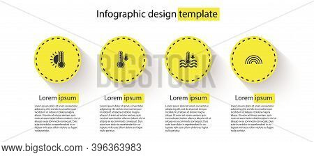 Set Thermometer With Sun, Meteorology Thermometer, Water And Rainbow. Business Infographic Template.