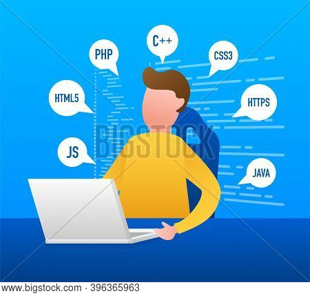 Digital Java Code Text. Computer Software Coding Vector Concept. Programming Coding Script Java, Dig