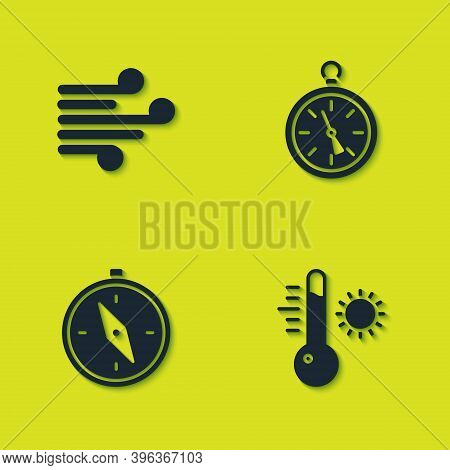 Set Wind, Meteorology Thermometer, Compass And Icon. Vector