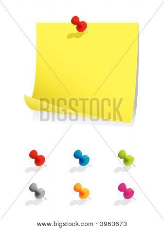 Blank Note Paper With Colourful Pins