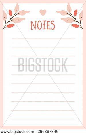 Cute Vector Notes Blank In Adorable Christmas Wintery Design.