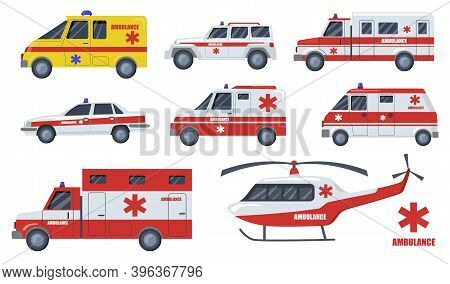 Medical Care Transport Flat Item Set. Cartoon Ambulance Cars And Vehicles Design Isolated Vector Ill