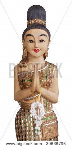 Sawatdee Lady - Wooden Statue