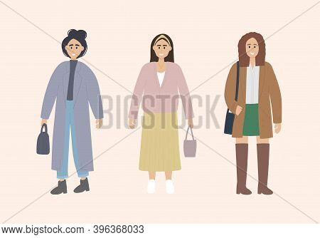 Set Of 3 Stylish Girls In Fashionable Clothes On A Neutral Background. Young Girl With A Bun In A Co