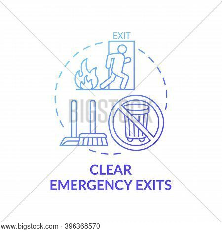 Clear Emergency Exits Concept Icon. Workplace Safety Elements. Keep Dangerous Situations Exit Area C