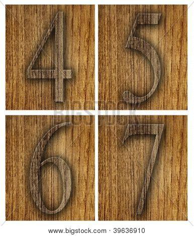 Teak wood 4-7 blocks with letters