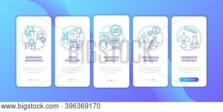 Workplace Safety Concerns Onboarding Mobile App Page Screen With Concepts. Mechanical Problems Walkt