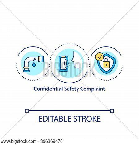 Confidential Safety Complaint Concept Icon. Preventing Personnel Information Leakage Idea Thin Line