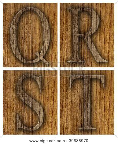 Teak wood Q-T blocks with letters