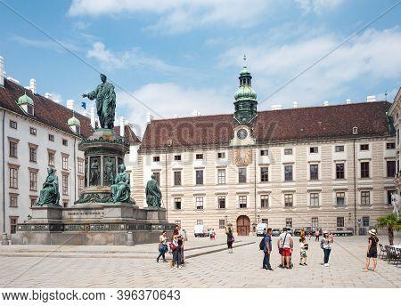 Vienna, Austria - July 31, 2019: Hofburg Palace Complex, In Der Burg Courtyard, Monument To Austrian