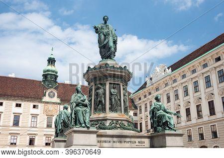 Vienna, Austria - July 31, 2019: Monument To Austrian Emperor Franz I, In Der Burg Courtyard Of Hofb