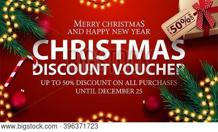 Christmas Discount Voucher, Up To 50 Off On All Purchases. Red Discount Voucher With Presents, Chris