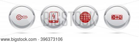 Set Line Key, Power Bank, Earth Globe And Bluetooth Speakers. Silver Circle Button. Vector