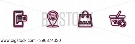Set Line Mobile And Shopping Basket, Shopping Bag With Sale, Location Cart And Refresh Icon. Vector