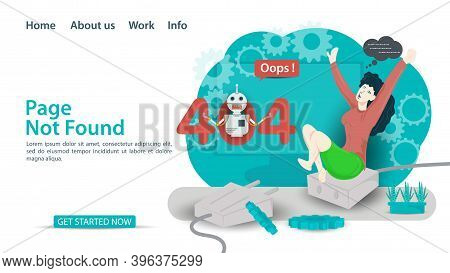 Oops, 404 Error, Page Not Found, Banner Internet Connection Problems, Girl Sitting On The Connection