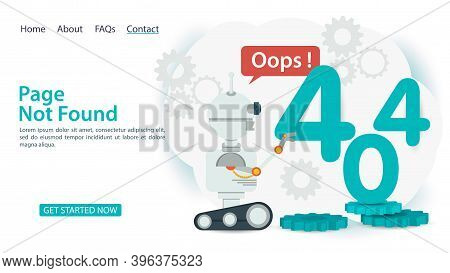 Oops, 404 Error, Page Not Found, Banner Internet Connection Problems, Robot Clicks The Number Four,