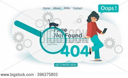 Oops 404 Error, Page Not Found, Banner Internet Connection Problems, Girl With Phone Cant Connect, F