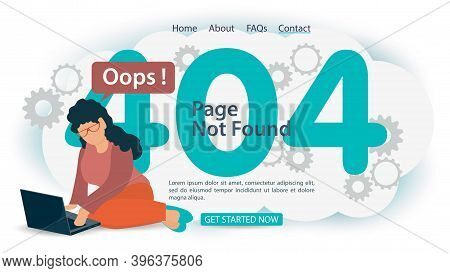 Oops 404 Error, Page Not Found, Banner Internet Connection Problems, Girl With Laptop Cant Connect,