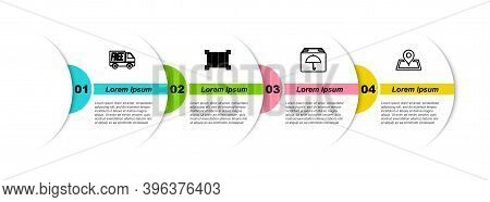 Set Line Free Delivery Service, Barcode, Delivery Package With Umbrella And Placeholder On Map. Busi