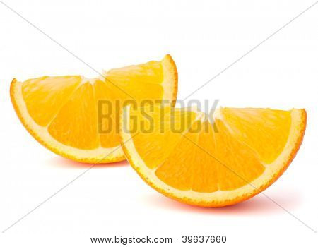 Two orange fruit segments or cantles isolated on white background cutout