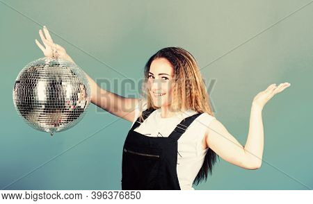 Girl With Disco Ball. Party Goer. Lets Dance. Night Life Concept. Ready For Having Fun. Happy Birthd