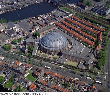 Haarlem, Holland, May 14 - 1992: Historical aerial photo of the Koepelgevangenis, a former prison in the city Haarlem in the Dutch province Noord Holland