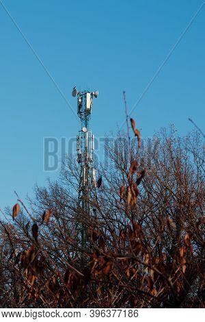 Cell Phone Tower. Wireless Mobile Antenna. Network Communication Radio Telecom Station. 5g Telecommu