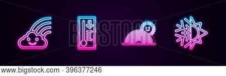 Set Line Rainbow With Cloud, Meteorology Thermometer, Sun And Sun And Snowflake. Glowing Neon Icon.