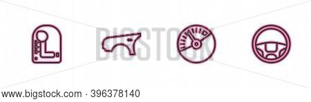 Set Line Gear Shifter, Speedometer, Car Fender And Steering Wheel Icon. Vector