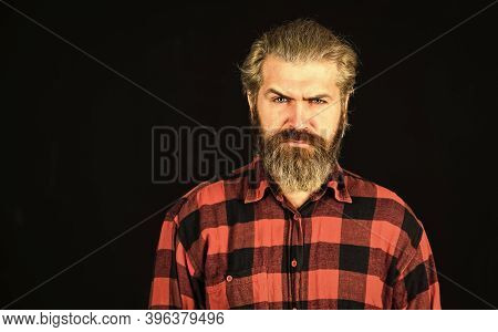 Mature Hipster With Beard. Brutal Caucasian Hipster With Moustache. Male Barber Care. Bearded Man. H