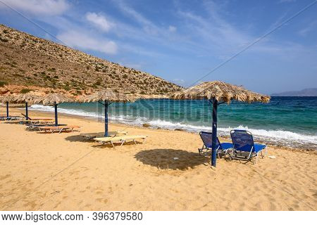 Agia Theodoti Beach With Golden Sand And Azure Waters On Ios Island. Cyclades, Greece
