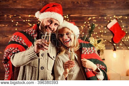 Home Party. Festive Atmosphere. Make Christmas Wish. Couple In Love Cuddling Enjoy Christmas Holiday