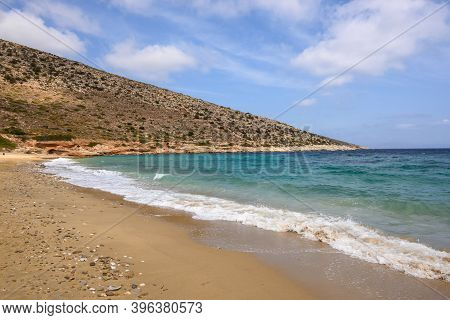 Agia Theodoti Beach On Ios Island. A Wonderful Beach With The Golden Sand And Azure Waters. Cyclades