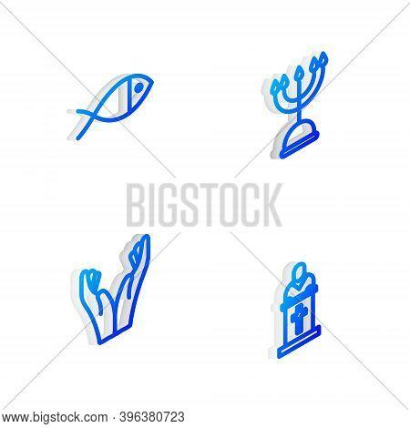 Set Isometric Line Hanukkah Menorah, Christian Fish, Hands In Praying Position And Church Pastor Pre