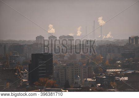 Bucharest, Romania - November 8, 2011: Overview Of Bucharest On A Foggy/misty Day.