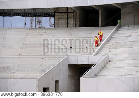 Bucharest, Romania - April 29, 2010: Workers On The Construction Site Of The National Arena Stadium