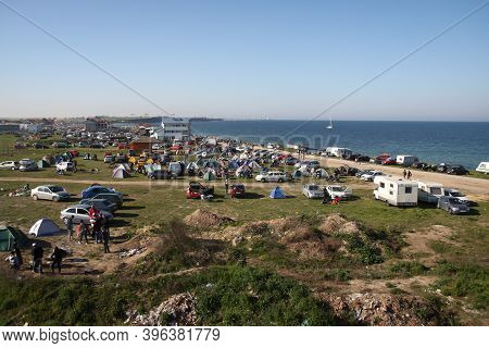 Vama Veche, Romania - May 1, 2010: Overview Of The Vama Veche Village With Tents And People Partying