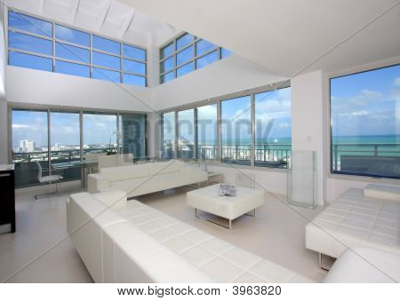 View from luxury penthouse condo on South Beach. poster
