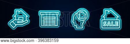 Set Line Realtor, Garage, Man Dreaming About Buying House And Hanging Sign With Sale. Glowing Neon I
